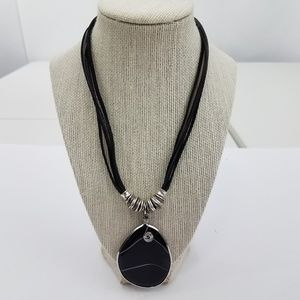 Jewelry - Black Necklace Wire Wrapped Stone Swirl Cord State